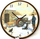 Snowy Little Grey Fergi TE20 Tractor Round Wall Clock