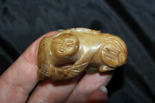 "Antique Chinese Stone Carved Man Statuette 2""L RARE"
