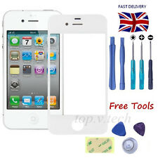 White Front Screen Glass Lens Replacement Repair Kit for iPhone 4 4S + Sticker