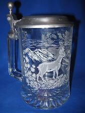 Vintage BEER STEIN MUG - Etched Glass and Pewter - Nature's DEER IN FOREST