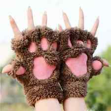 Winter Soft Warm Women Fingerless Paw Gloves Fluffy Bear Cat Plush Paw Chic