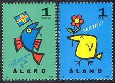 Aland 1996 Saluti/Bird/PESCE/ANIMAZIONE/FLAG/Animali 2v Set (n41601)