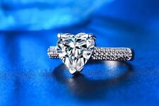 Heart Ring Big 3 carat CZ Sterling Silver Promise Wedding Engagement Ring Size 7