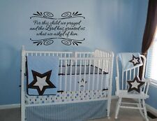 FOR THIS CHILD WE PRAYED FOR WALL ART DECAL QUOTE WORDS LETTERING BABY NURSERY