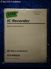 Sony Bedienungsanleitung ICD MS525 IC Recorder (#2158)