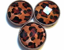 3 - 2 HOLE SLIDER BEADS COPPER PLATED LEOPARD PRINT FACETED ACRYLIC CABOCHONS