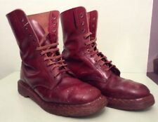 VINTAGE DR MARTENS BOOTS ORIGINAL 70's CHERRY RED SCUFFS PAINT WEAR SEE DESCRPTN