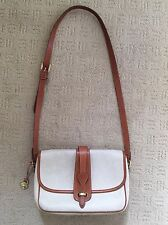 Dooney & Bourke Equestrian Crossbody Purse Ivory British Tan Leather Bag