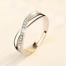 Damen18K Elegant Weißgold Kristall Silber Hochzeits Engagement Ring Schmuck
