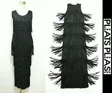 PLEATS PLEASE ISSEY MIYAKE Long Dress Designed with Total Fringe Black Size 5