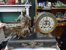 """LG 1880'S ANSONIA FIGURAL CLOCK ARCHIMEDES OPEN ESCAPEMENT 171/2 X15"""" WORKING"""