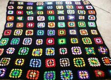 Colorful Hand Crocheted Afghan Throw 75 x 65 Beautiful!