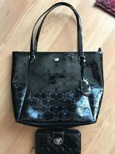 Coach liquid gloss embossed black patent leather tote with matching wallet