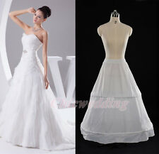 White A-Line Bridal Petticoat Wedding Crinoline Underskirt Slips 2 Hoop 1 Layer