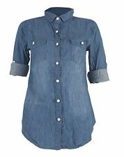 Womens Vintage Casual Denim Wash Jeans Collar Fitted Shirt Top UK 8-14