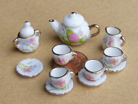 1:12 Scale Ceramic 11 Piece Pink & White Floral Doll House Miniature Tea Set RO7