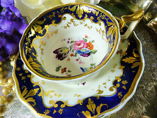 ANTIQUE RIDGWAY   TEA CUP AND SAUCER OLD ENGLISH SHAPE COBALT H.P. FLORAL  c1825
