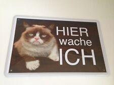 Bunte Katze Cat Hier wache ich ! Tierwarnschild - Blechschild 20x30 cm 13