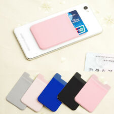 1PC Elastic Mobile Phone Wallet Credit ID Card Holder Pocket Adhesive #2 Pink