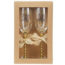 Mud Pie Wedding Champagne Glasses Set, Gold