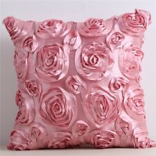 Luxuary 3D Satin Rose Flower Square Pillow Case Sofa Cushion Cover Home Decor