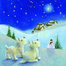 Westie Dogs Christmas Cards Following The Star Pack of 10 Pretty Dog Xmas Cards