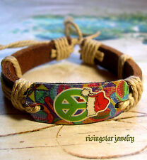 Colorful Peace Sign for Chrismas Surfer Characters Leather Bracelet Wristband