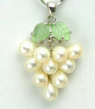 Lovely Genuine White Pearl White Gold Plated Grape Pendant and Necklace