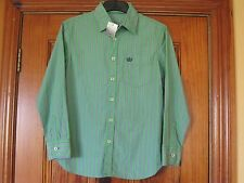 NEXT 100% Cotton Long Sleeve Green Stripy Shirt Age 11 Brand New with Tags