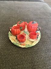 Collectible Pumpkin Miniature Resin Tea Set