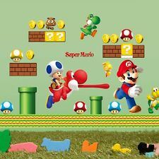 SUPER MARIO Kids Room Art PVC Quote Wall Stickers Wall Decals Mural Wallpaper