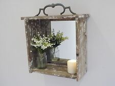 Wooden Wall Mirror Box Shabby Chic Vintage Style