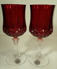 Cristal d'Arques LONGCHAMP Ruby RED Water Glasses 25th Anniversary-Set of 2