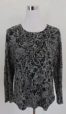 AUTHENTIC CHICO'S BLACK & GREY WOMEN'S TOP SIZE 2        (A5056)