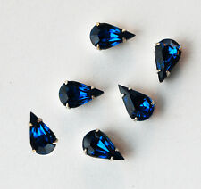 VINTAGE 6 GLASS BEAD SEW ON EMBELLISHMENT BEADS TEAR DROP • 13x8mm • CAPRI BLUE