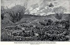 1916 Flandern Kalte Erde - Douaumont: Deutsche im Speerfeuer * antique print
