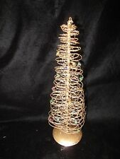 "Small 11"" Tall Gold Wire Christmas Tree with Tiny Ball Ornaments"