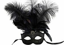 Venetian Masquerade Ball Eyes Mask Black silver gold Ostrich feather Halloween