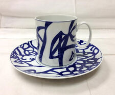 """THOMAS """"BLUE ORCHARD"""" TEACUP & SAUCER BLUE/WHITE PORCELAIN NEW GERMANY ROSENTHAL"""