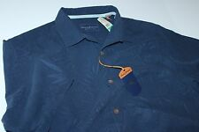 Tommy Bahama Camp Shirt 100% Silk Tiki Palms Navy Blue T311591 Large L