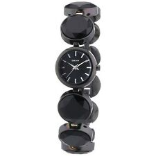 NEW DKNY BLACK TONE,ROUND LINKS BRACELET,CRYSTAL SMALL WATCH NY2125