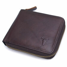 Mens Leather Wallets Zip Around Purse Coin Pocket Credit Card Organizer