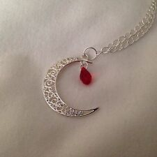 "Crescent Blood Moon Blood Red Drop Charm Wicca Pagan 18"" Necklace - Organza bag"