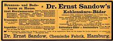 Dr. Ernst Sandow Hamburg KOHLENSAEURE- BAEDER Historische Reklame von 1908