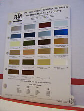 1974 Lincoln Continental Mark IV Thunderbird Paint Chips Color Chart R-M 74 Ford