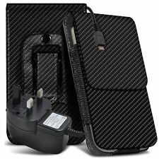 Carbon Fibre Belt Pouch Holster Case & Mains Charger For HTC One M8