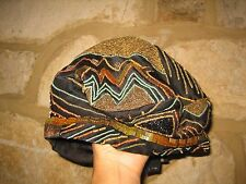 Vintage ETRO Milano Ladies Size L Black Pure Silk  Beads Art Dec Beret Hat