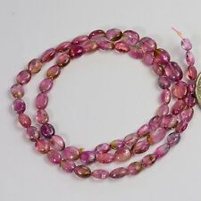 Watermelon Tourmaline Smooth oval nugget Bead 15 inch strand