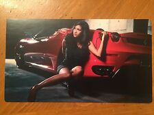 Tin Sign Vintage Ferrari With Model Pin Up Girl 1