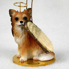 Chihuahua Dog Figurine Ornament Angel Statue Hand Painted Long Hair
